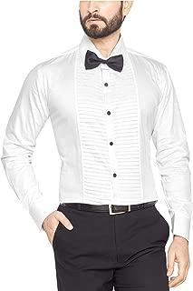 Go Stylish 100% Cotton Men's Tuxedo White Shirt with Bow