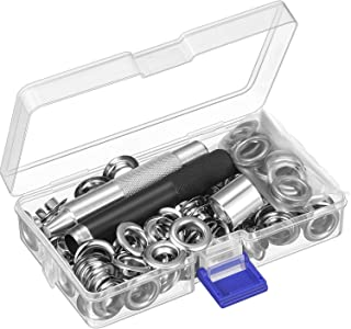 Pangda Grommet Tool Kit, Grommet Setting Tool and 100 Sets Grommets Eyelets with Storage Box (1/2 Inch Inside Diameter)