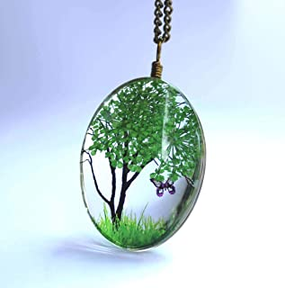 Fatto a mano Collana di fiori secchi Collana sveglia del pendente Collana albero della vita