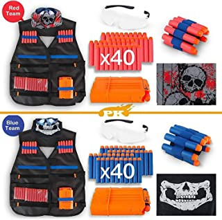 UGS Kids Tactical Vest for Nerf Gun and Strike Elite Series with 2 Pack Wrist Bands, Quick Reload Clips, Protective Glasses,40 Bullets and 2 Face Tube Mask for Kids (Team A and Team B)