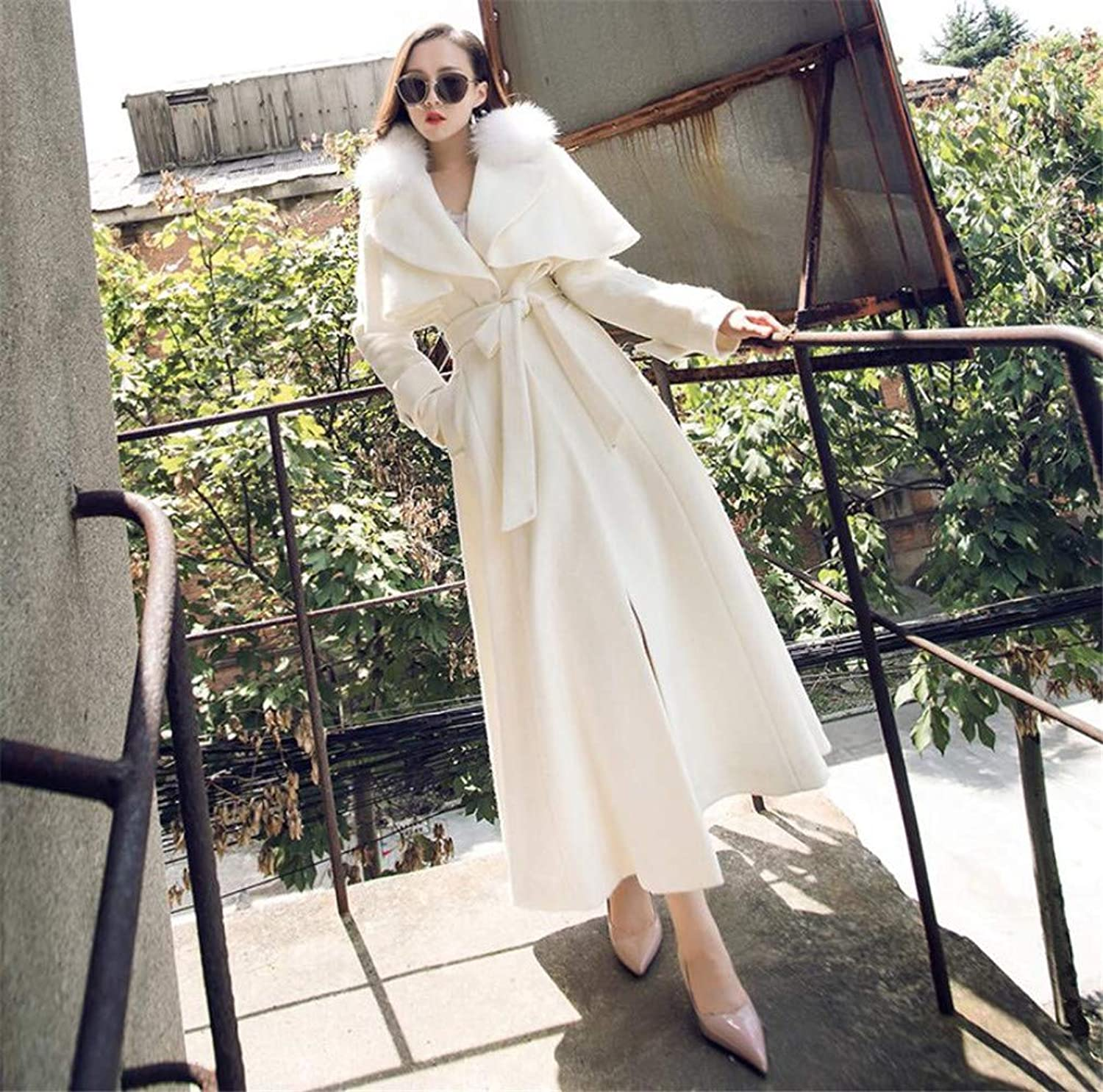Women's Wool Cashmere Coat Jacket, Europe and America Wool White Thicken VNeck Lapels Long Section Simple Coat