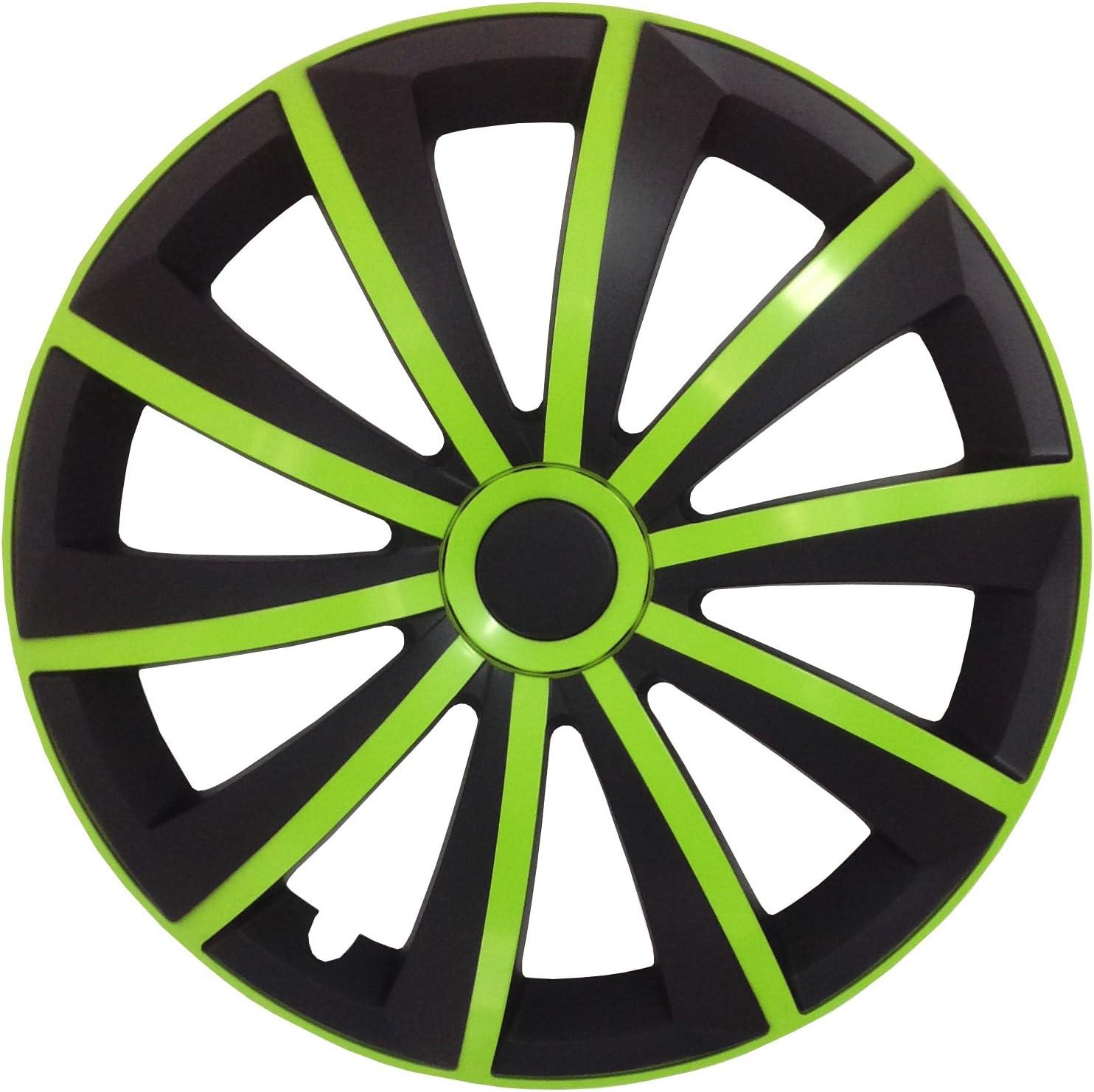 passend f/ür Fast alle Fahrzeugtypen Schwarz-Gr/ün 15 Zoll Radkappen//Radzierblenden GRALO MATT universal Autoteppich Stylers @@ Gr/ö/ße w/ählbar