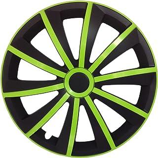 Autoteppich Stylers @@ (Größe wählbar) 14 Zoll Radkappen/Radzierblenden GRAL MATT Schwarz und Grün passend für Fast alle Fahrzeugtypen – universal