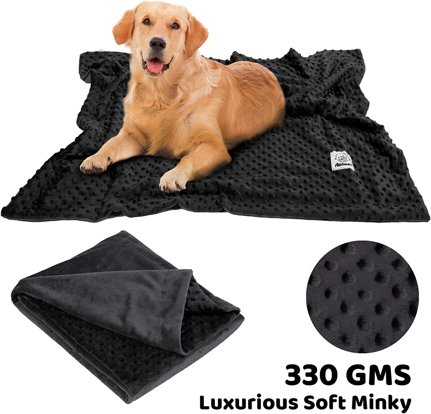 Allisandro Premium Fluffy Dog Blanket Soft and Warm Fleece Blanket for Pet and Throw Cute Paw Print Puppy Cat Blanket Durable and Washable (Black Minky)