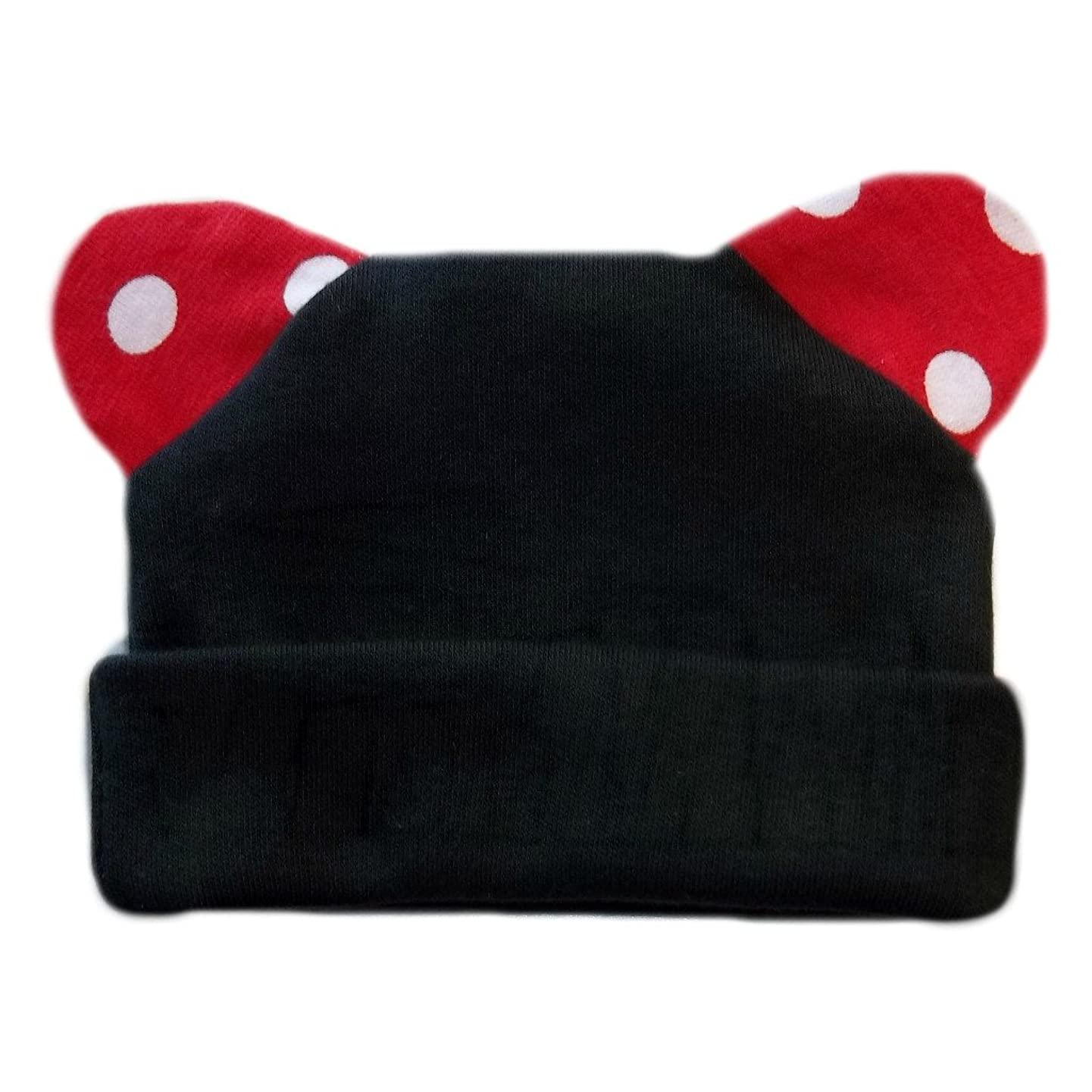 Jacqui's Baby Girls' Black Mouse Hat with Red Polka Dot Ears