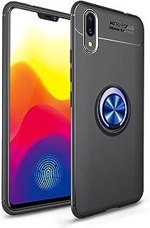 TiHen Funda Vivo X21/UD, 360 Grados Protective con Anillo Soporte+Pantalla de Vidrio Templado Case Cover Skin móviles telefonía Carcasas Fundas para Vivo X21/UD -Negro+Azul