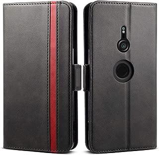 Xperia XZ3 ケース 手帳型 [ SO-01L SOV39 ] - Rssviss サイドマグネット カード収納 横置き機能 高級PUレザー エクスペリア XZ3 カバー 財布型 (Sony Xperia XZ3 SO-01L SOV39用) W5 ブラック