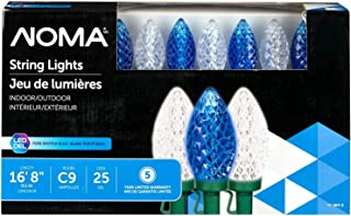 NOMA LED C9 Christmas Lights | Indoor/Outdoor String Lights | Blue and Clear Pure White Bulbs | 25 Light Set | 16.8 Foot Strand | UL Certified