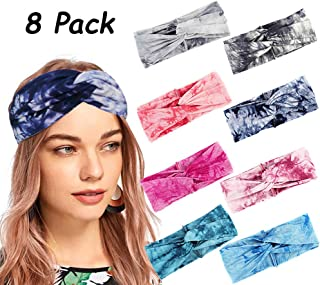 8Pcs Bohemian Headbands for Women Elastic Yoga Headbands Running Sport Athletic Travel Boho Knotted Hairband Turban Criss Cross Twisted Head Wrap Hair Bands for Girls Women Teens Adults