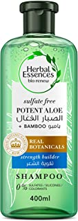 Herbal Essences Hair Strengthening Sulfate Free Potent Aloe Vera Bamboo Natural Shampoo for Dry Hair, 400 ml