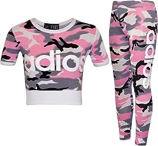 Kids Girls Adios Crop Top Leggings Set Camouflage Jogging Suit Tracksuit 7-13 Yr