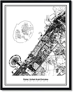 Susie Arts 8X10 Unframed Dubai United Arab Emirates Metropolitan City View Abstract Street Map Art Print Poster Wall Decor...