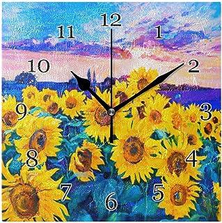 Oljemålning solros väggklocka tyst icke-tickande fyrkantig konstmålning klocka för hem kontor skoldekor