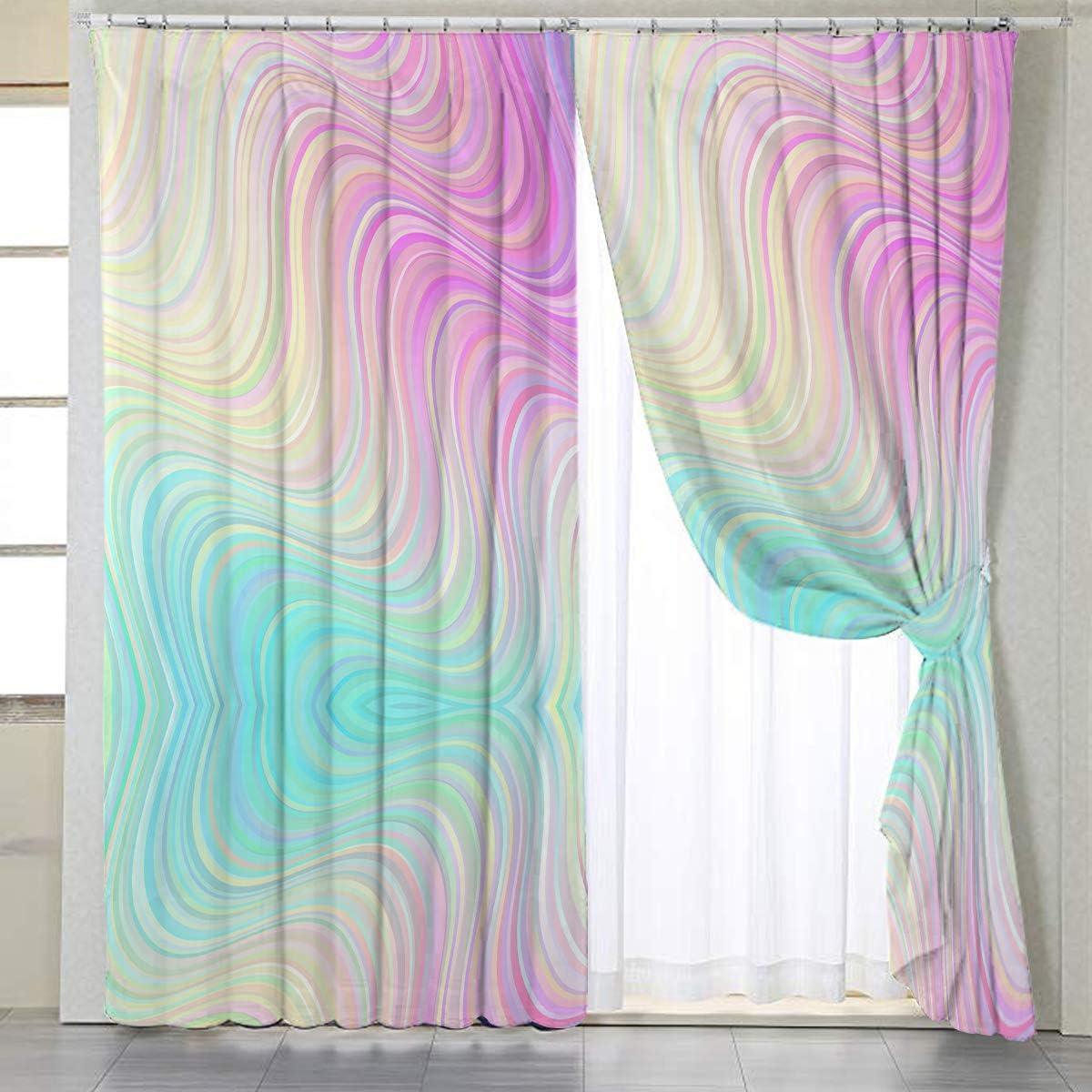 BlessLiving Printed Window Curtains Rainbow Marble Curtain Drape