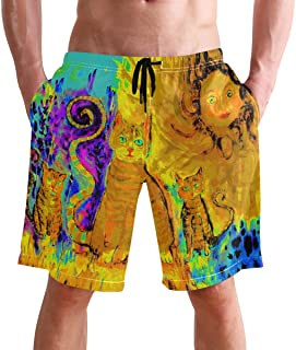 FFY Go Beach Shorts, Cat with Kitten Pop Art Printed Mens Trunks Swim Short Quick Dry with Pockets for Summer Surfing Boar...