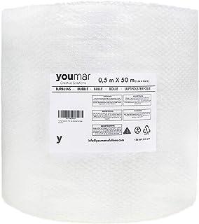 Youmar Solutions - Rollo De Plástico De Burbujas (0,5 Metro Ancho 50 Metros largo) Para Envolver Productos Frágiles En Transportes y Mudanzas. Alta Protección. Calidad Europea. (Estandar)