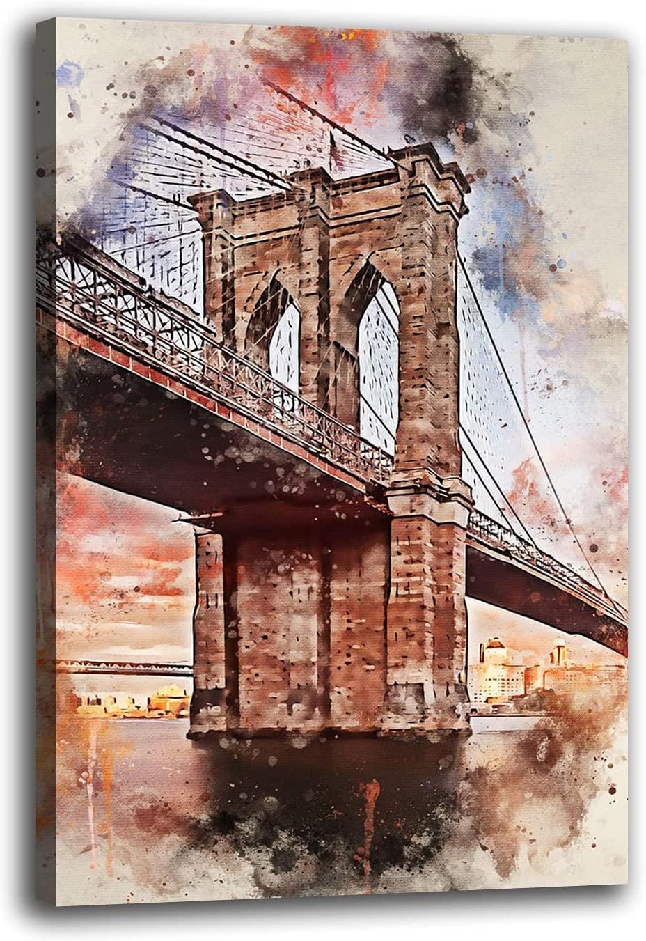 RSBCSHI New York in Watercolor Canvas Mall Ranking TOP14 Painting Decorative Poster