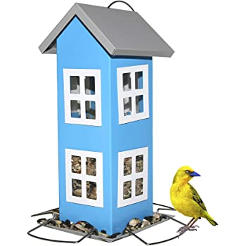 Sherwoodbase Ridge - Wild Bird House Feeder, Weatherproof Design for Easy Cleaning & Refills, Comes with Hook to Hang on Tree, Poles in Backyard Garden, Patio; Gift idea for Parents (Blue)