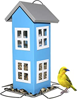 Sherwoodbase Ridge - Wild Bird House Feeder, Weatherproof Country House Design for Easy Cleaning & Refills, Comes with Hook to Hang on Tree, Poles in Backyard Garden, Patio; Gift idea for Parents