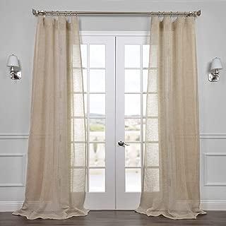 HPD Half Price Drapes SHLNCH-J0106-120 Linen Sheer Curtain, 50 X 120, Open Weave Natural