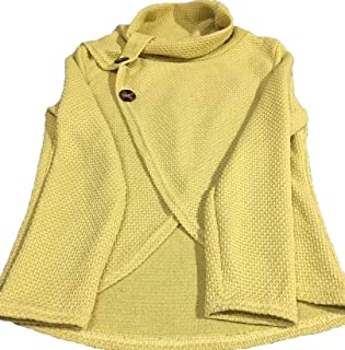 Women Chunky Button Turtle Cowl Neck Wrap Asymmetric Hem Pullover Sweater