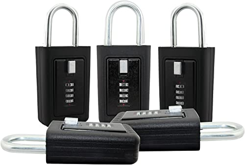 discount Lion Locks 5-Pack LS-8900 Key online Storage Realtor Lockbox, Set-Your-Own Code 2021 Lock, Portable Key Holder, Rust-Proof Secure Outdoor Safe, Hide-a-Key Safe Box, Lock Box, Airbnb, Construction (5-Pack/Black) sale