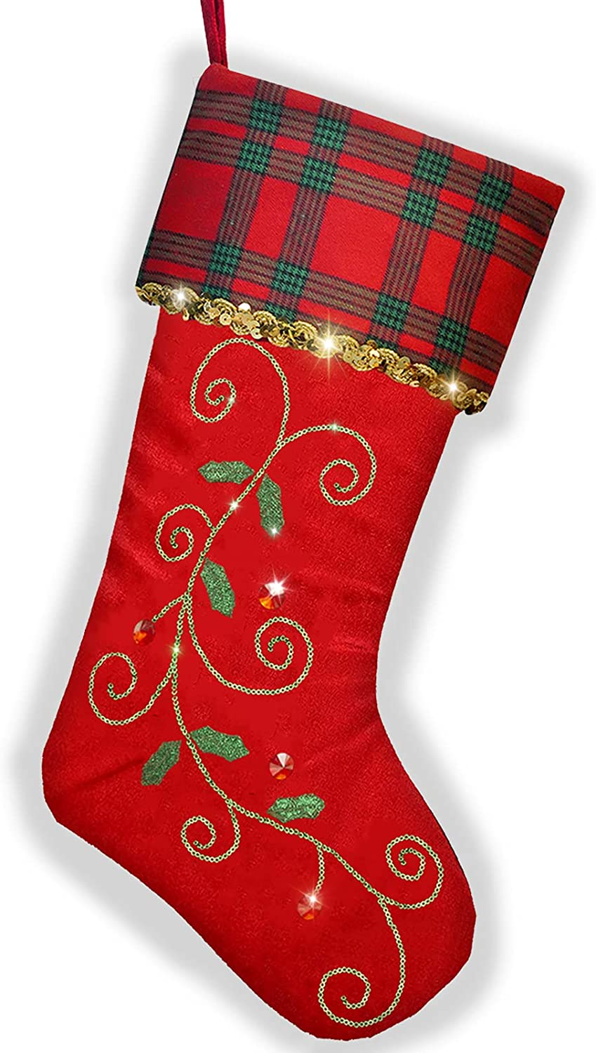 TangJing Christmas Stocking 21-inch Leaves St Holly Traditional New York Mall Special price for a limited time
