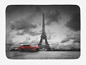 Ambesonne Eiffel Tower Bath Mat, Image of Eiffel Tower Paris France Vintage Car Street Dark Clouds, Plush Bathroom Decor Mat with Non Slip Backing, 29.5 W X 17.5 L Inches, Black White Red