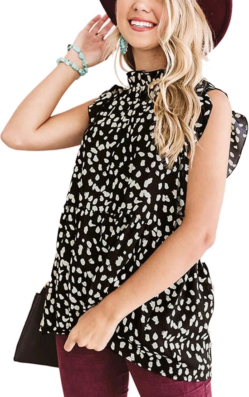 Angashion Women's Tops Casual Floral Print Cap Sleeve Ruffle Neck Loose Babydoll Shirt Blouse Tunic Top