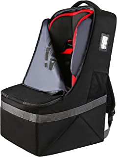 Padded Car Seat Travel Backpack Bag,Durable Large Backpack for Car Seats,Airport Gate Check Bag,Carseat Carrier Bag,Infant Seat Travel Bag with Padded Shoulder Strap,Travel Carseat Cover,Black