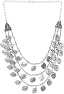 Priyaasi Designer Silver & Gold Leaf Silver-Plated Necklace For Women and Girls