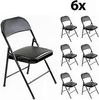 Stalwart - 6er Set stabile Klappstühle Faltstühle Stuhl Metall in schwarz PVC in schwarz, 6 Stühle