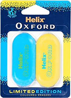 Helix Oxford Clash Twin Pack of Erasers - Blue