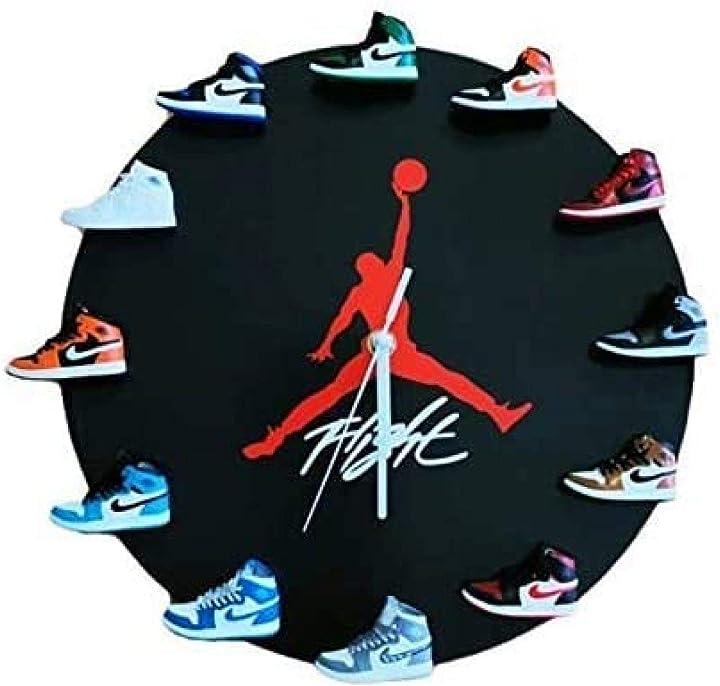 Orologio da parete air jordan con mini sneakers retrò 3d wangp 11751