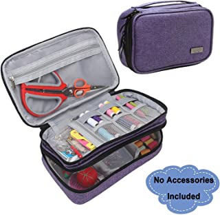 Luxja Sewing Accessories Organizer, Double-Layer Sewing Supplies Organizer for Needles, Scissors, Measuring Tape, Thread and Other Sewing Tools (NO Accessories Included), Large/Purple