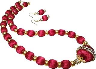GOELX Silk Thread Necklace & Earrings Elegant Handmade Set