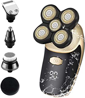 Electric Shaver for Men, Head Shaver for Blad Men Grooming Kit 5 in 1 Wet Dry Rotary Razor Cordless Rechargeable Nose Hair...