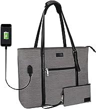 کیف دستی لپ تاپ ، کیف دستی بزرگ کیسه ای متناسب با 15 اینچ لپ تاپ ، محفظه های چندگانه و جیب های معلم کیسه سازنده مقاوم در برابر آب با درگاه USB ، تسمه قابل تنظیم… (خاکستری)