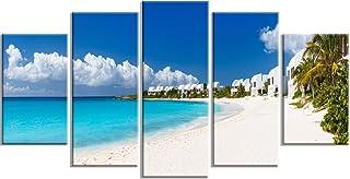 Designart Caribbean Beach Panorama-Landscape Photo Metal Wall Art-MT6430-60x32-5, 60x32-5 Panels Diamond Shape