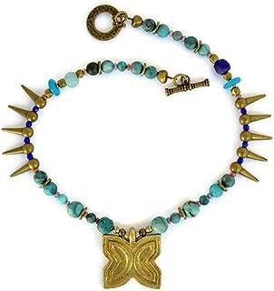 Collar étnico para mujer con colgante africano y piedras naturales turquesas