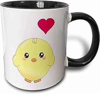 3dRose mug_112902_4 Cute yellow chick with red love heart sweet kawaii anime cartoon adorable round baby bird Two Tone Black Mug, 11 oz, Black/White