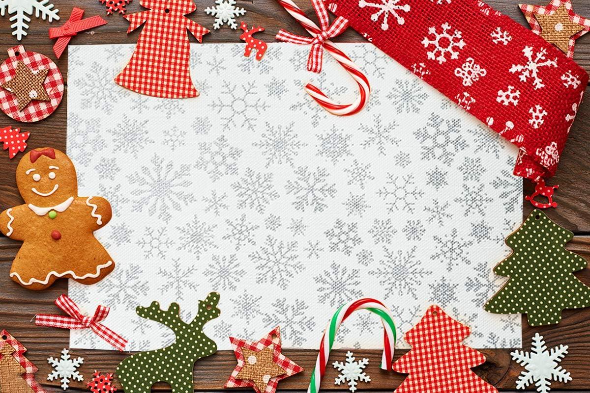 color dorado JUJIN Juego de 8 manteles individuales de Navidad antideslizantes y lavables de PVC resistente al calor para mesa de comedor Navidad