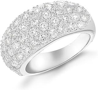 Tuscany 银色镶方晶锆石圆顶戒指