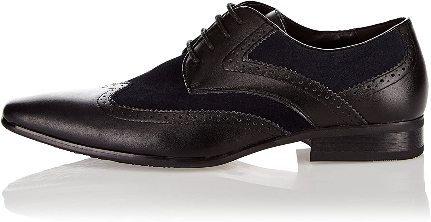Front TURIN Mens Leather Suede Brogue shoes Black Navy