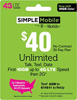 Simple Mobile SIM Card $40 Plan - 90 Days (3 Months) Preloaded with $40 Plan ($120 Value)