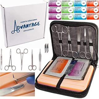 Advantage Suture Practice Kit   for Medical Students   Skin-Like Suture Pad   Complete Suture Kit with Carrying Case   Extra Sutures   Stainless Steel Instruments   Reusable Pad   Training Set
