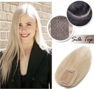 Human Hair Toppers for Women With Thinning Hair Clip in Top Hair Piece Silk Base Top Hairpiece 100% Density Hand-made Crown Hair Extensions for Gray Hair Hair Loss 10inch Platinum Blonde #60