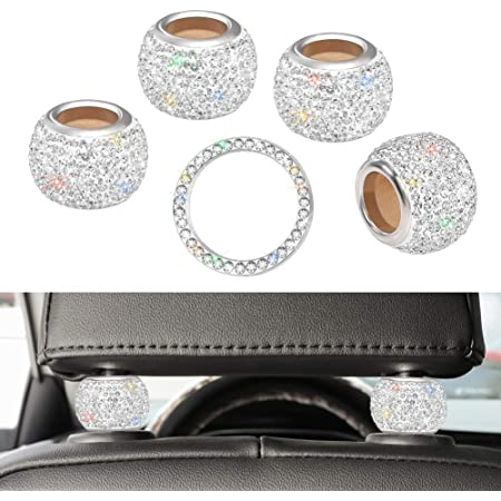 Car Headrest Collars Car Headrest Collars Rings Decor Bling Bling Crystal Diamond Ice For Car Suv Truck Interior Decoration Blings 4 Pack White Auto
