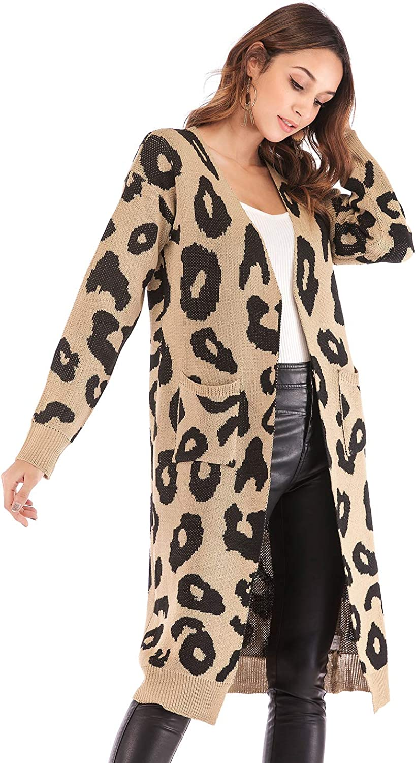 AEL Women's Long Sleeves Print Knitting Cardigan Casual Open Front Warm Sweater Outwear Coats with Pocket