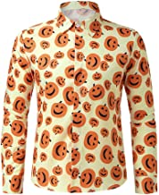 Bravetoshop Men's Fashion Button Down Slim Fit Long-Sleeves Pumpkins Printed Turn-Down Collar Casual Shirts